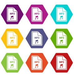 file mp3 icon set color hexahedron vector image vector image