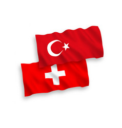 Flags turkey and switzerland on a white vector