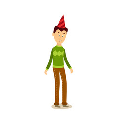 flat man standing in party hat vector image