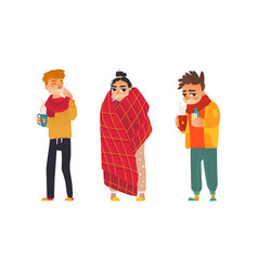 Flat sick people set vector