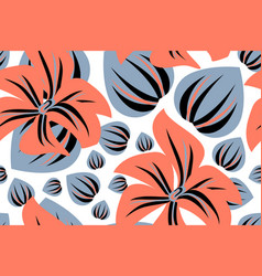 Floral seamless pattern coral color flower vector