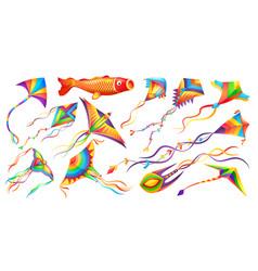 flying wing kites kids toy cartoon set vector image