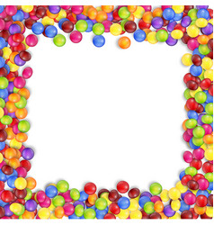 Frame colorful candy on a white background vector