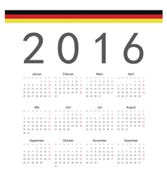 German square calendar 2016 vector