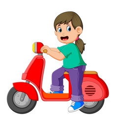 Girl is posing on red scooter vector