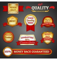 Golden quality labels set vector image
