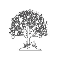 Grayscale contour with leafy tree vector