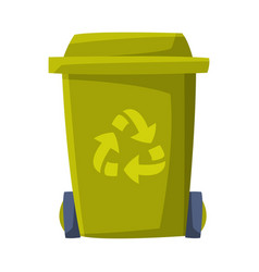 green recycle bin for trash and garbage vector image
