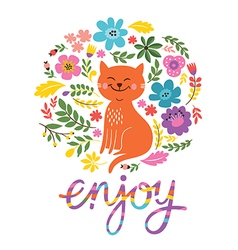 Greeting card design enjoy lettering vector