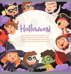 halloween frame cartoon scary background vector image