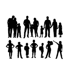 happy family activity silhouettes vector image
