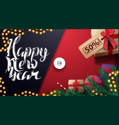happy new year up to 50 off red and blue discount vector image