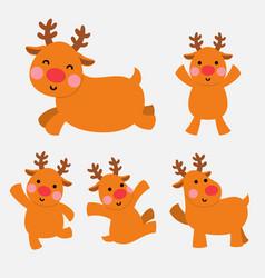 happy reindeer in action set vector image