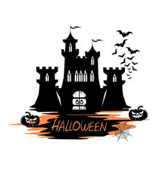 Holiday label for halloween with castle vector