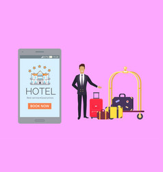 Hotel banner with smartphone and doorman vector