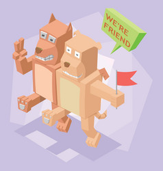 isometric best friend dog and cat vector image