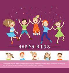 Joyful happy cute children concept vector