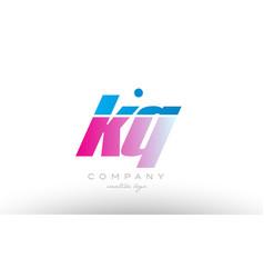 kq k q alphabet letter combination pink blue bold vector image