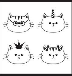 linear cat head face silhouette icon set contour vector image