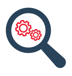 magnifying optical glass with gears icon vector image