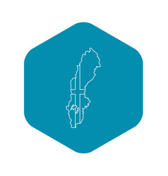 map of sweden icon outline style vector image