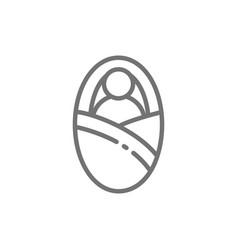 newborn in baby envelope line icon vector image
