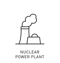 Nuclear power plant thin line icon vector