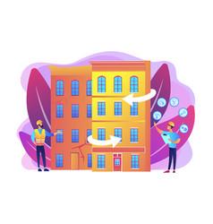 old buildings modernization concept vector image