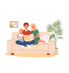 parents people reading adventure story book to kid vector image