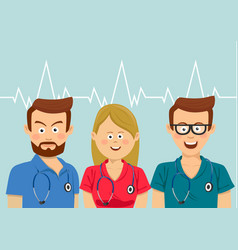 Portrait of medical team wearing colorful scrubs vector