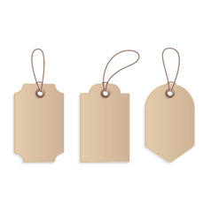 realistic craft paper price tag stock cardboard vector image