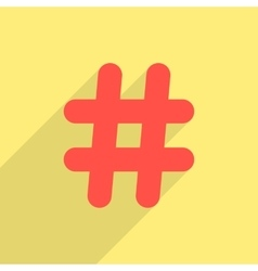 red hashtag icon with long shadow vector image