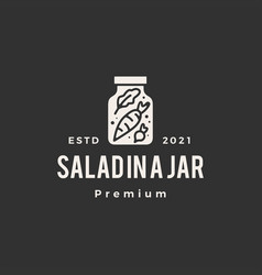 salad in a jar hipster vintage logo icon vector image