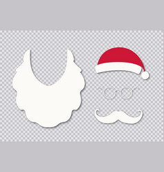 santa hat bread and mustache isolated on vector image
