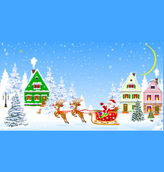 Santa on deers on background houses and vector