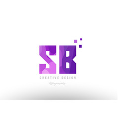 Sb s b pink alphabet letter logo combination with vector