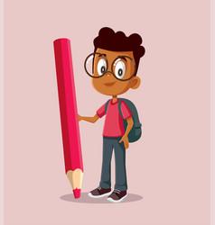 School boy holding big pencil cartoon vector
