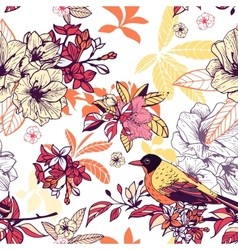 Seamless floral pattern with bird vector