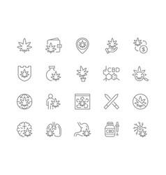 set cannabidiol line icons cbd cannabis vector image