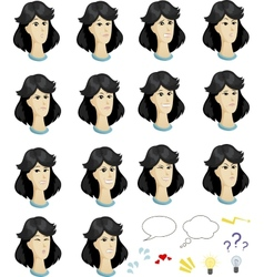 Set cartoon asian female faces with emotional vector