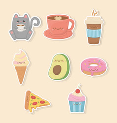 set food kawaii characters vector image