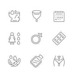 Set line icons menstruation vector
