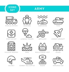 Set line icons of army vector image