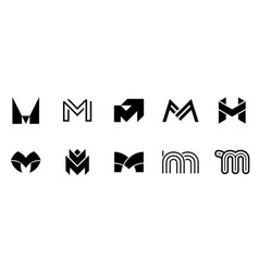 set of letter m logo vector image