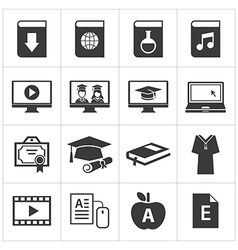 set of online education icon vector image