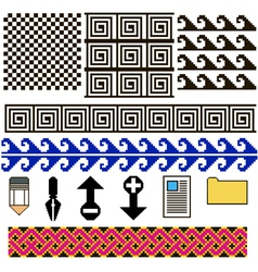 set of patterns and icons pixel art vector image