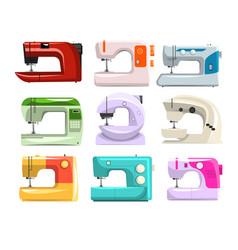 sewing machine set modern machine in different vector image