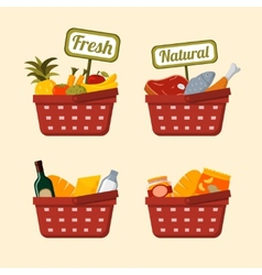 Shopping basket set with foods vector