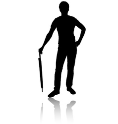 Silhouette of man with umbrella vector image