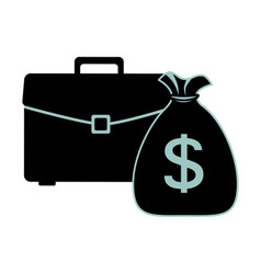 Silhouette portfolio and bag with dollar symbol vector